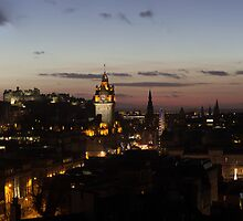 Nightfall over the City of Edinburgh, Scotland by Miles Gray