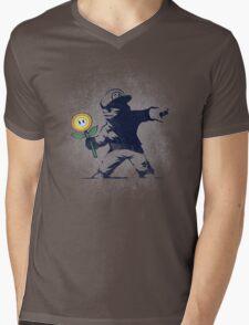 Banksy flower Mens V-Neck T-Shirt