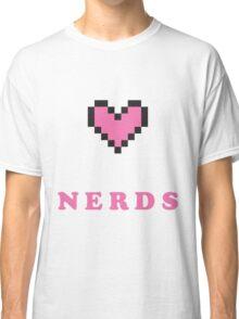 I Heart Nerds Pink 8 Bit  Classic T-Shirt