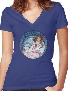 Vintage MUCHA Art Goddess Women's Fitted V-Neck T-Shirt