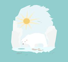 Cute Polar Bear try to get some fish and sun by crouchingpixel