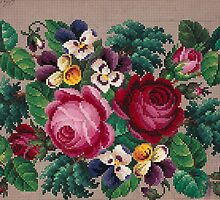 Bunch of roses and violets embroidery design by Bridgeman Art Library