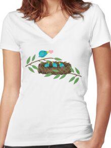 Bluebirds Mommy Feeding Baby Birds Love Women's Fitted V-Neck T-Shirt