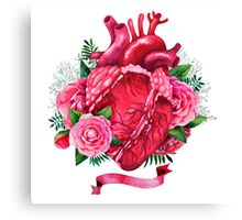 Watercolor heart with floral design Canvas Print