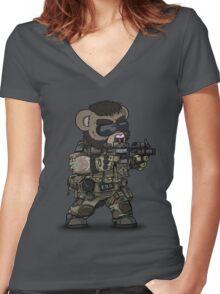 FOO-BEAR (Tan) Women's Fitted V-Neck T-Shirt