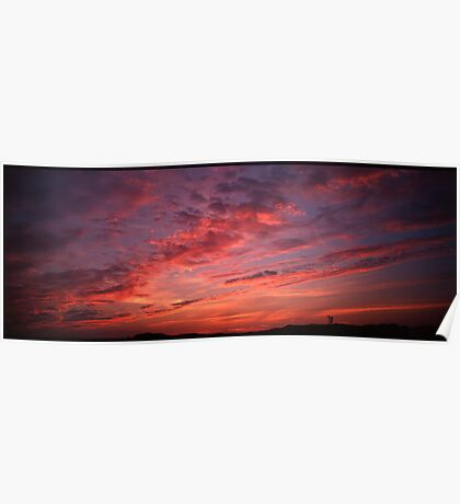 Red sunset clouds panorama Poster