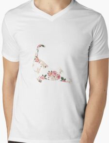 Cat Floral Design Mens V-Neck T-Shirt