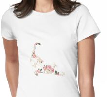 Cat Floral Design Womens Fitted T-Shirt