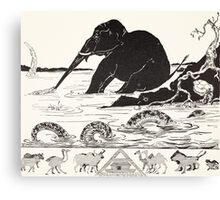 The Elephant's Child having his nose pulled by the Crocodile Canvas Print