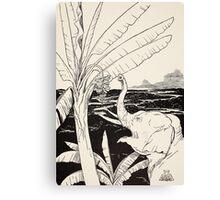 The Elephant's Child going to pull bananas off a banana-tree Canvas Print