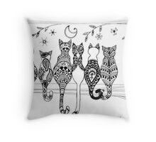 Pop Art Zentangle Cats Lovers Moon  Throw Pillow