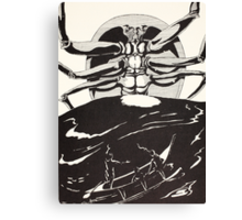 Pau Amma the Crab rising out of the sea as tall as the smoke of three volcanoes Canvas Print