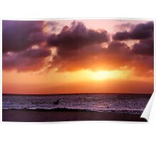 A Pelican's Sunset Poster