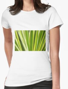 Nature Pattern, Palm leafs - Green, yellow stripes Design Womens Fitted T-Shirt