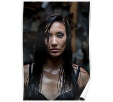 Semi naked woman in industrial workshop Poster