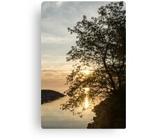 Lakeside Golds and Greens - Brilliant, Beautiful Sunrise on the Lake Canvas Print