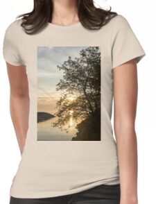 Lakeside Golds and Greens - Brilliant, Beautiful Sunrise on the Lake Womens Fitted T-Shirt