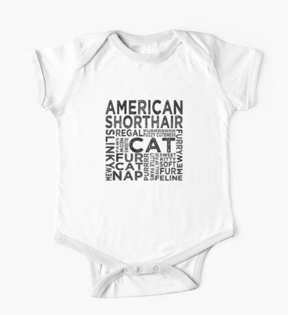 American Shorthair Cat Typography One Piece - Short Sleeve