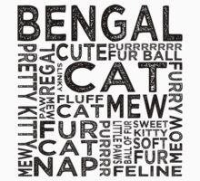 Bengal Cat Typography Kids Clothes