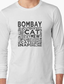 Bombay Cat Typography Long Sleeve T-Shirt