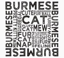 Burmese Cat Typography Kids Clothes