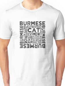 Burmese Cat Typography Unisex T-Shirt