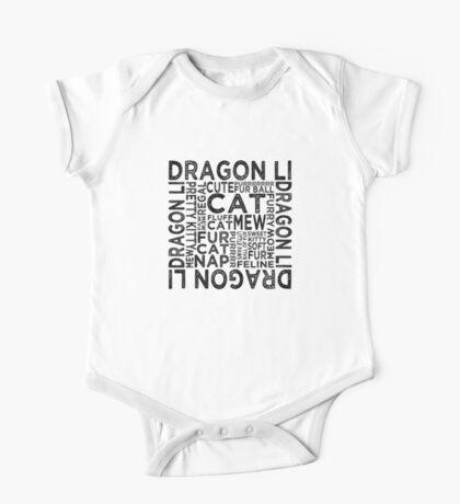 Dragon Li Cat Typography One Piece - Short Sleeve