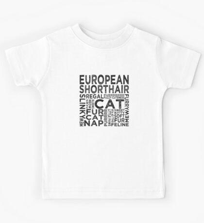 European Shorthair Cat Typography Kids Tee