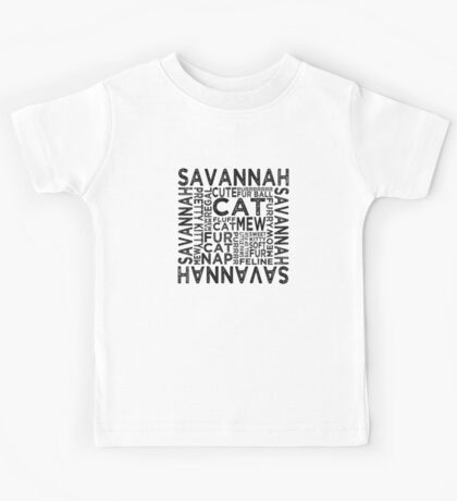Savannah Cat Typography Kids Tee