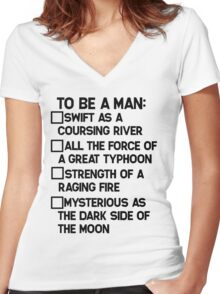 To Be A Man: Women's Fitted V-Neck T-Shirt