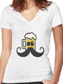 Beer Mustache Women's Fitted V-Neck T-Shirt