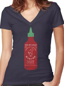 Torchic Hot Ember Sauce  - Distressed  Women's Fitted V-Neck T-Shirt