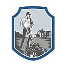 Gardener Mow Lawn Mower Woodcut Shield by patrimonio