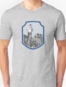Gardener Mow Lawn Mower Woodcut Shield T-Shirt