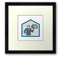 Real Estate Salesman Sell House Retro Framed Print