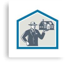 Real Estate Salesman Sell House Retro Canvas Print