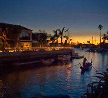 Naples gondola at sunset by Celeste Mookherjee