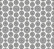 Black dots circles pattern on white background by amovitania