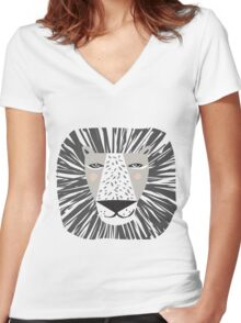 Friendly Lion Women's Fitted V-Neck T-Shirt