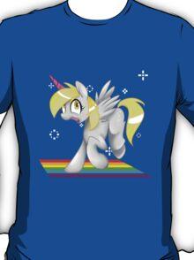 [collab] Grey Fluffy Unicorn Derping on rainbows T-Shirt