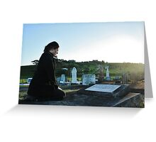 Woman at a grave Greeting Card