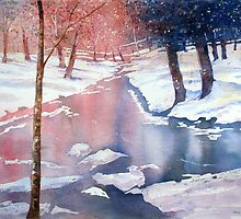 River scene with snow by Paul Sagoo by HurstPainters