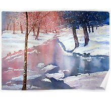 River scene with snow by Paul Sagoo Poster