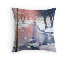 River scene with snow by Paul Sagoo Throw Pillow