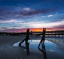 Bembridge Beach sunset by manateevoyager