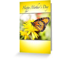 Happy Mother's Day With Orange Monarch Butterfly Greeting Card
