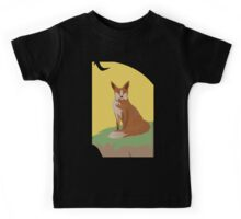 The Lonely Fox Sitting Viewing the Moon Kids Tee