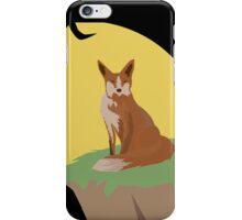 The Lonely Fox Sitting Viewing the Moon iPhone Case/Skin