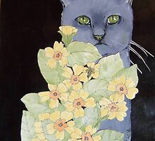 Cat against black with flowers by Carole Chapla