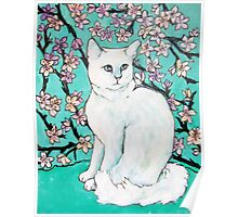 White Cat with Cherry Blossoms Poster